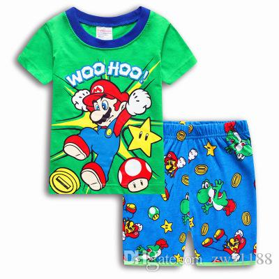 1450e31688c0 Children s Summer Cartoon Pyjamas Clothing Sets Boys Girls Short ...