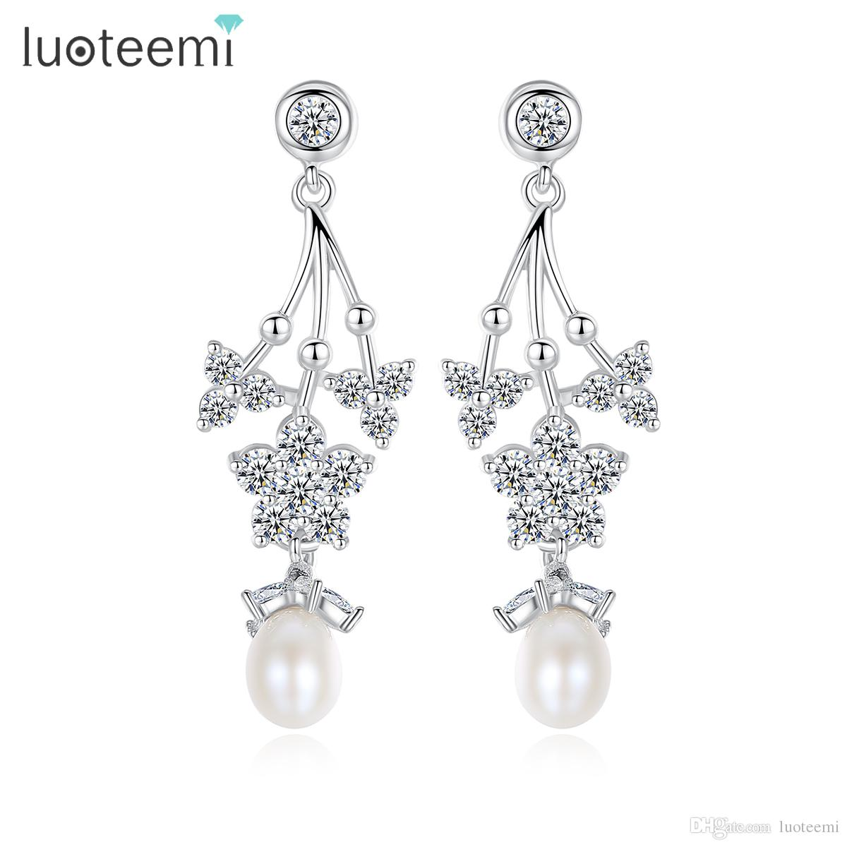 LUOTEEMI Fashion Vintage Natural Pearl Pendant Dangle Earrings For Women White Gold Color Drop Earrings Jewelry Girl Gifts