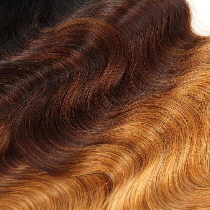 3 Bundle Peruvian Ombre Hair With Closure Three Tone Body Wave Human Hair Weaves Closure Lavender Colored Weft With Silk Closure