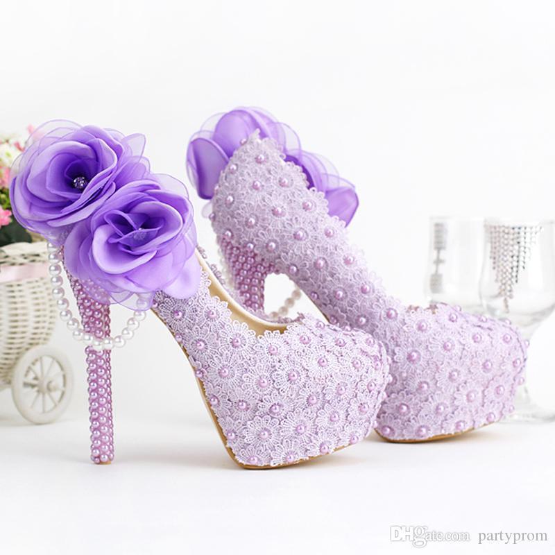 Romantische Lila Super High Heel Hochzeit Schuhe Schöne Spitze Handgemachte Brautkleid Schuhe mit Applikationen Brautjungfer Schuhe