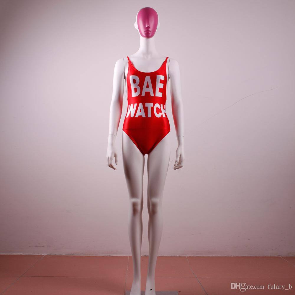섹시한 여성 원피스 수영복 BAE WATCH 인쇄 열기 뒤로 Bodysuit 플러스 사이즈 수영복 하이 웨이스트 수영복 Monokini Red