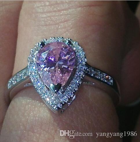 Größe 5-10 Birne geschnitten Engagement Luxus Schmuck rosa Saphir 925 Sterling Silber gefüllt Hochzeit Diamonique simuliert Diamant-Ring-Set
