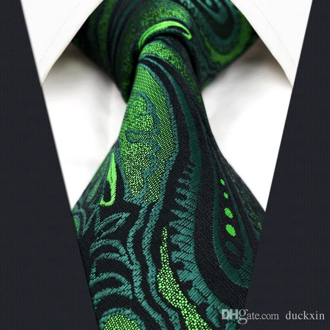 5e65cc50d5fb U30 Paisley Floral Dark Green Black Mens Neckties Ties 100% Silk Extra Long  Jacquard Woven Brand New Black Bow Tie High Neck Blouse From Duckxin, ...