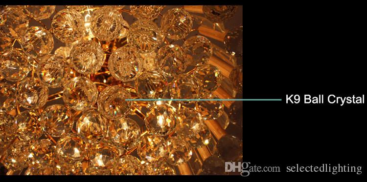 Armatür Modern Led Kristal Avize Tasarım Led Altın Avize Aydınlatma Bohemian Kristal Avize Oturma odası için Lambalar Asılı