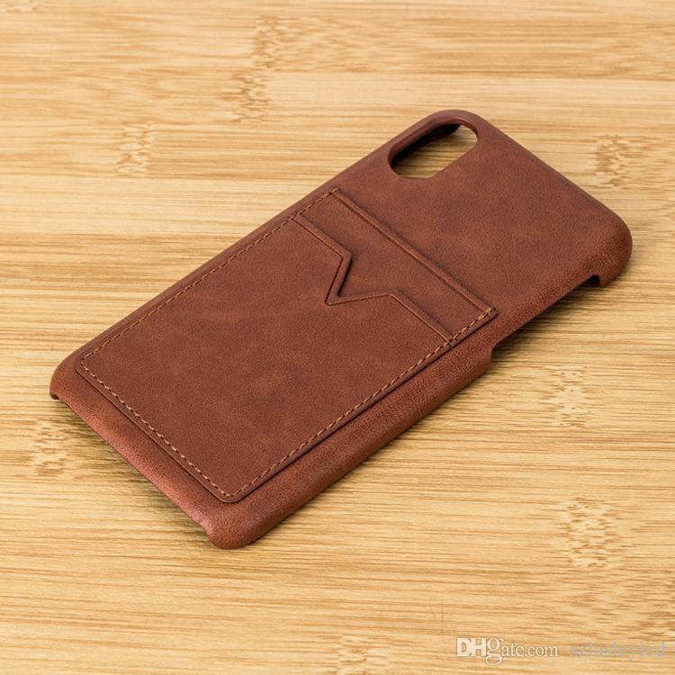 hot sale cell phone case vintage plain color ultra thin card holder leather wallet back cover case for iphone x 7 8 plus