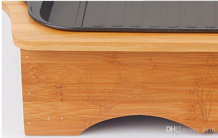 Barbecue portatile a carbonella con scatola di bambù bar stufa a legna uso domestico L45 * W29.5 * H11cm 035