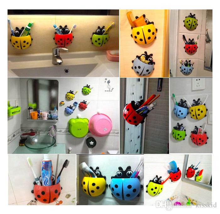 salle de bains mignonne brosse à dents truc tasse poche coccinelle mur ventouse organisateur titulaire 4 couleurs pour sélectionner