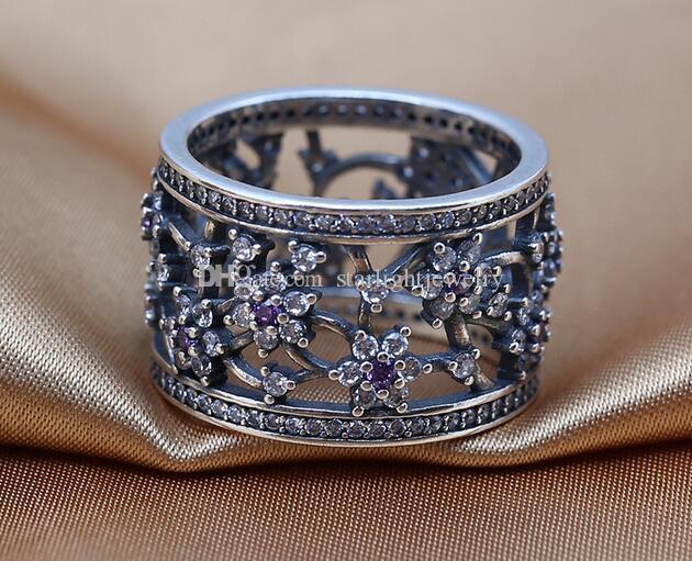 2016 NEW 스프링 925 스털링 실버 링, Cubic Zirconia With Purple Clear CZZ 판도라 스타일 쥬얼리 DIY charms