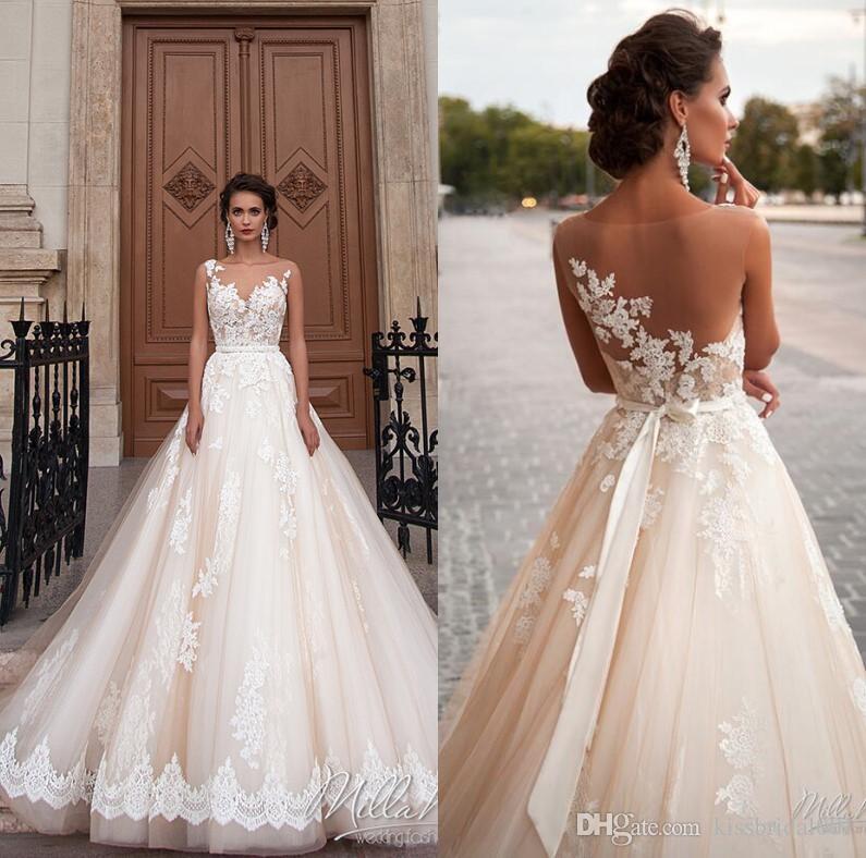 Vintage Wedding Gowns Uk: Vintage Lace Wedding Dresses Illusion Sheer Formal Arabic