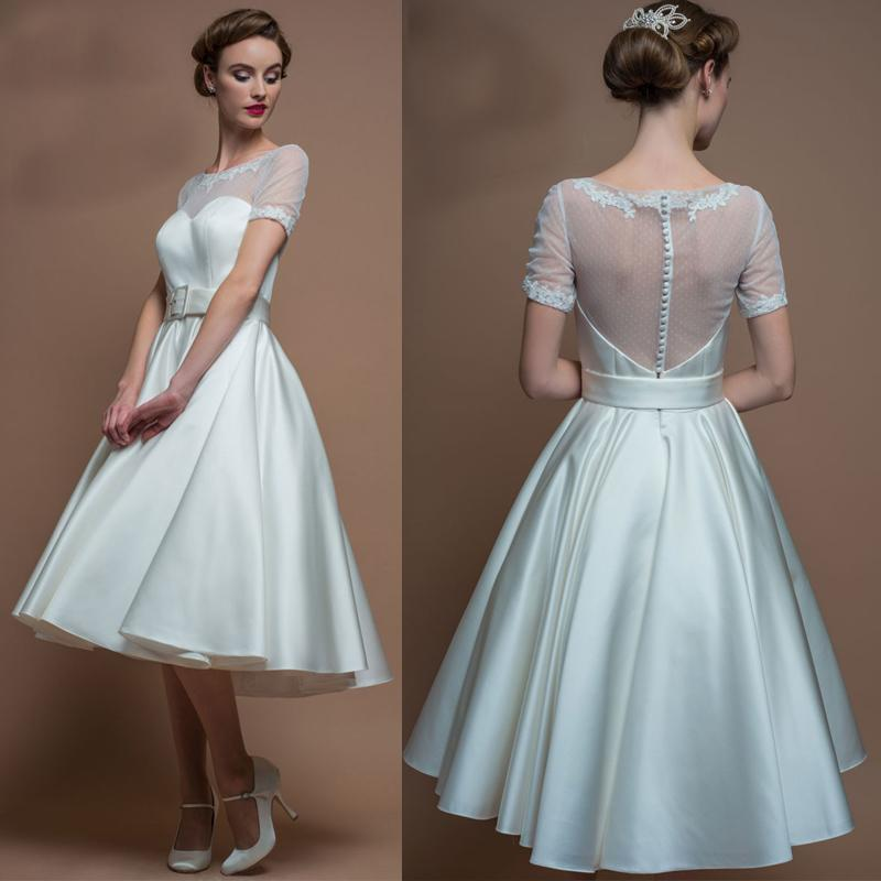 Discount 2017 Tea Length Short Country Wedding Dresses Cheap Sheer ...