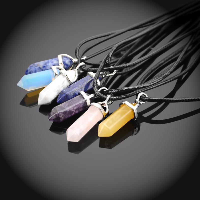 Natural Stone Necklace Druzy Crystal Quartz Gemstone Pendant Necklaces Agate Amethyst Bullet Shape Women Statement Jewelry dhl