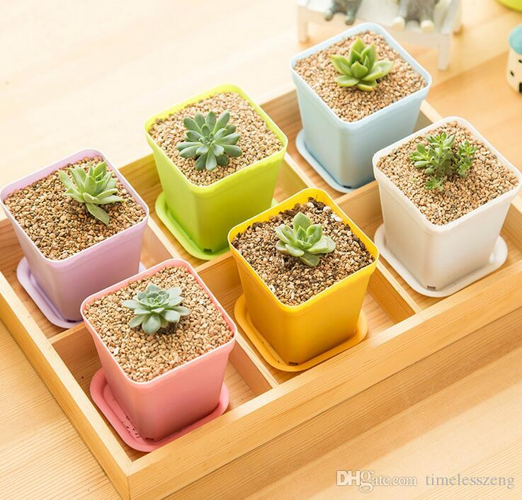 Mini pot de fleurs coloré dans une fleur en plastique POTS bureau de plantes en pot avec le plateau sur le bureau