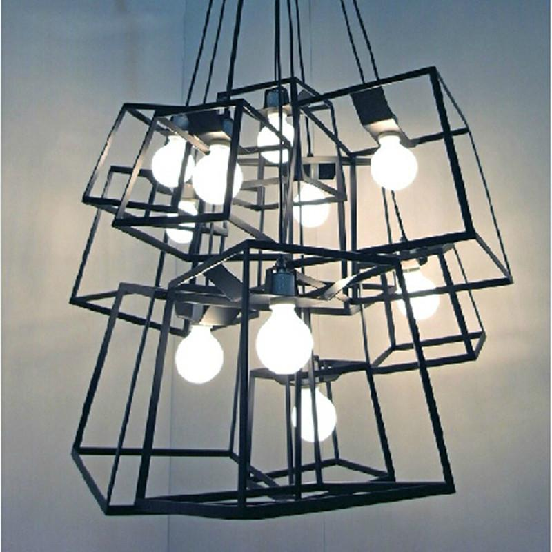 Modern Cube Box Frame Pendant Lights Geometric Lamps Lustres De Sala Kitchen Diy Light Hanging Luminarias Fixtures Drum Discount