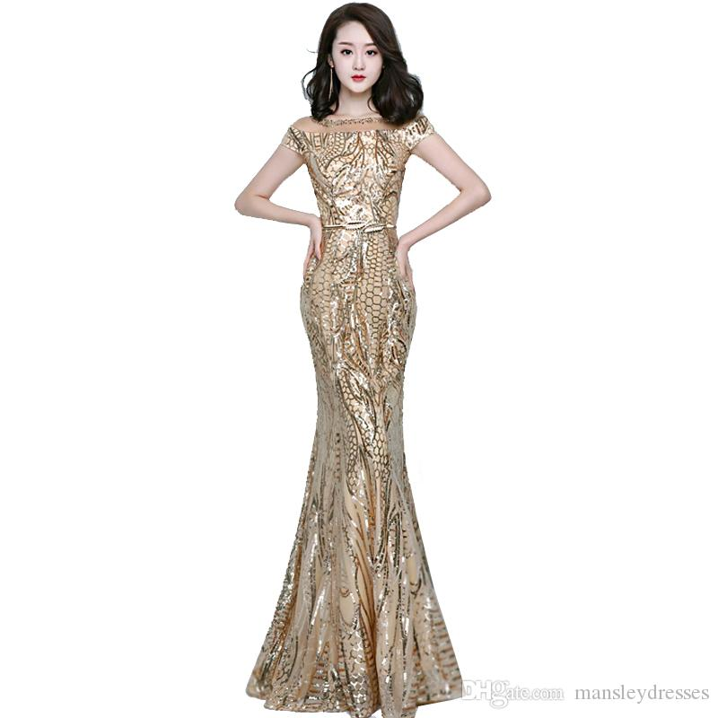 Gold Sequined Evening Prom Gowns Mermaid Short Sleeve Backless ...