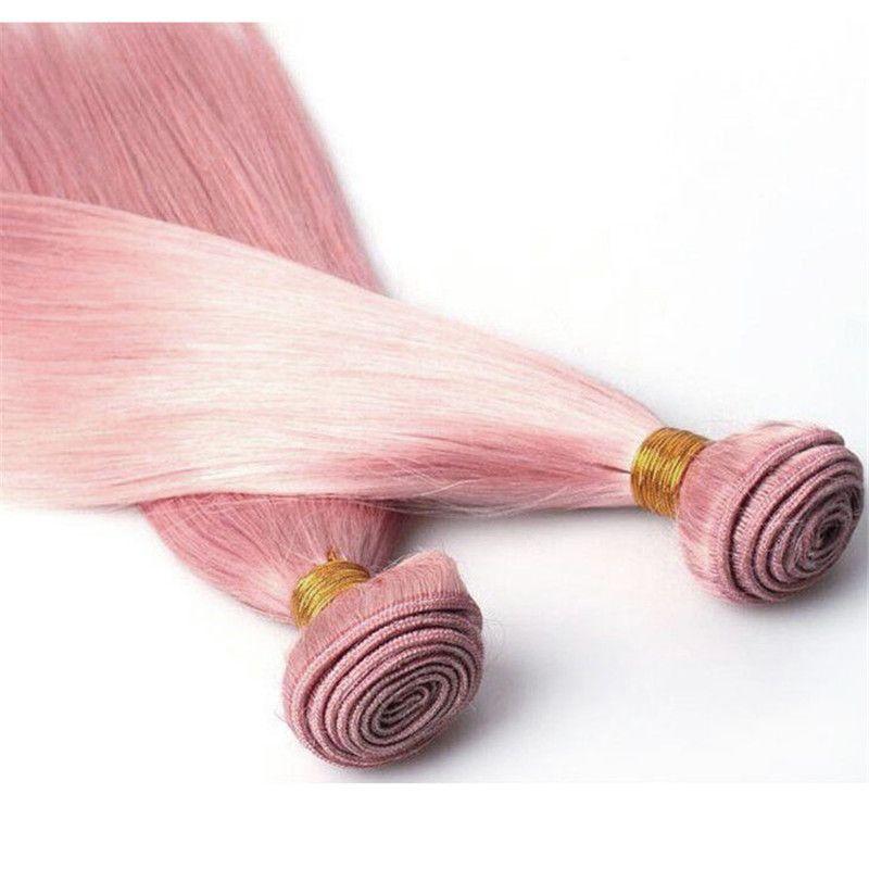 실크 스트레이트 핑크 인간의 머리카락 직물 로즈 핑크 브라질 버진 헤어 번들 / 핑크 머리 확장 더블 Wefts 8A 학년 Wefts