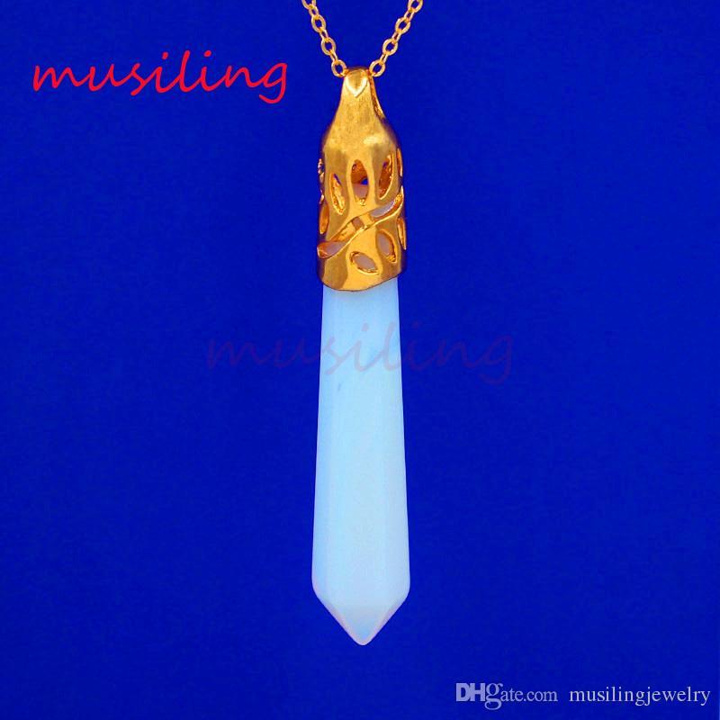 Pendants Pendulum Jewelry Gold Plated Natural Stone Six Angle Charms Bohemian Healing Chakra Amulet Fashion Mens Jewelry