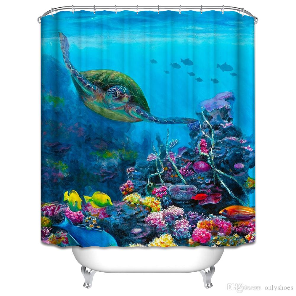 2018 Customs 36/48/60/66/72/80 W X 72 H Inch Shower Curtain Turtle ...