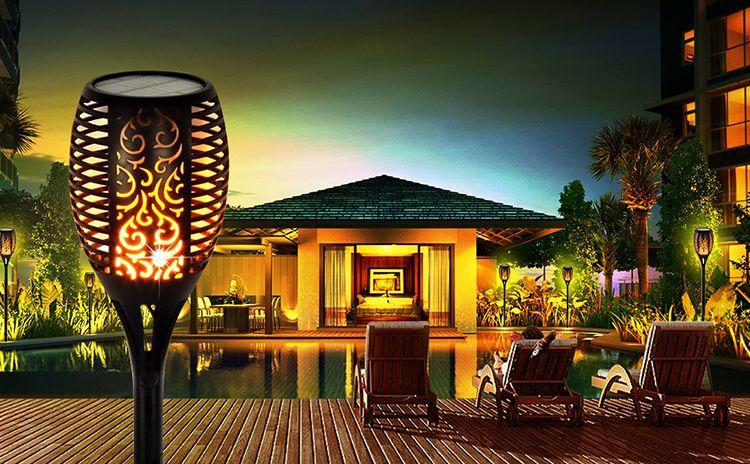 Flameless outdoor solar torch lamps solar powered garden light yellow color for park street landscape decoration lights
