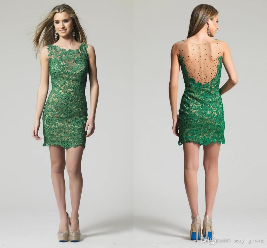 2016 Formal Sheath Short Lace Emerald Green Cocktail Dresses Vestido ...
