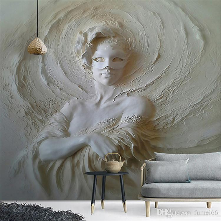 Custom Any Size Photo Wall Paper Modern 3D Stereoscopic Art Relief Mask Beauty Background Wall Mural Wallpaper For Walls Roll 3D