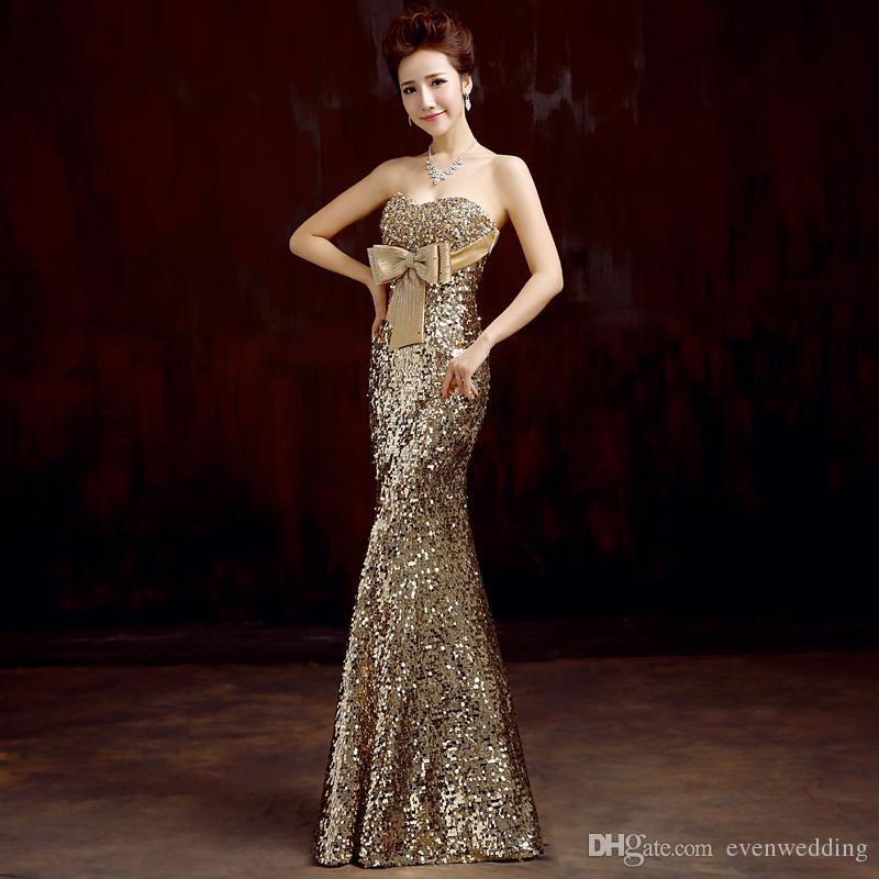 Vestido de dama de honor de la sirena de lentejuelas de la lentejuela con el vestido de fiesta de boda de longitud del piso de oro 2016 envío rápido