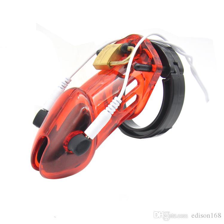 Männlicher langer PC Elektrischer Schlagimpuls Stimulieren Hahnkäfig mit 5 Penis Ring Bondage Keuschheits-Geräte-Schloss Erwachsene BDSM Sex-Spielzeug 4 Farbe A191