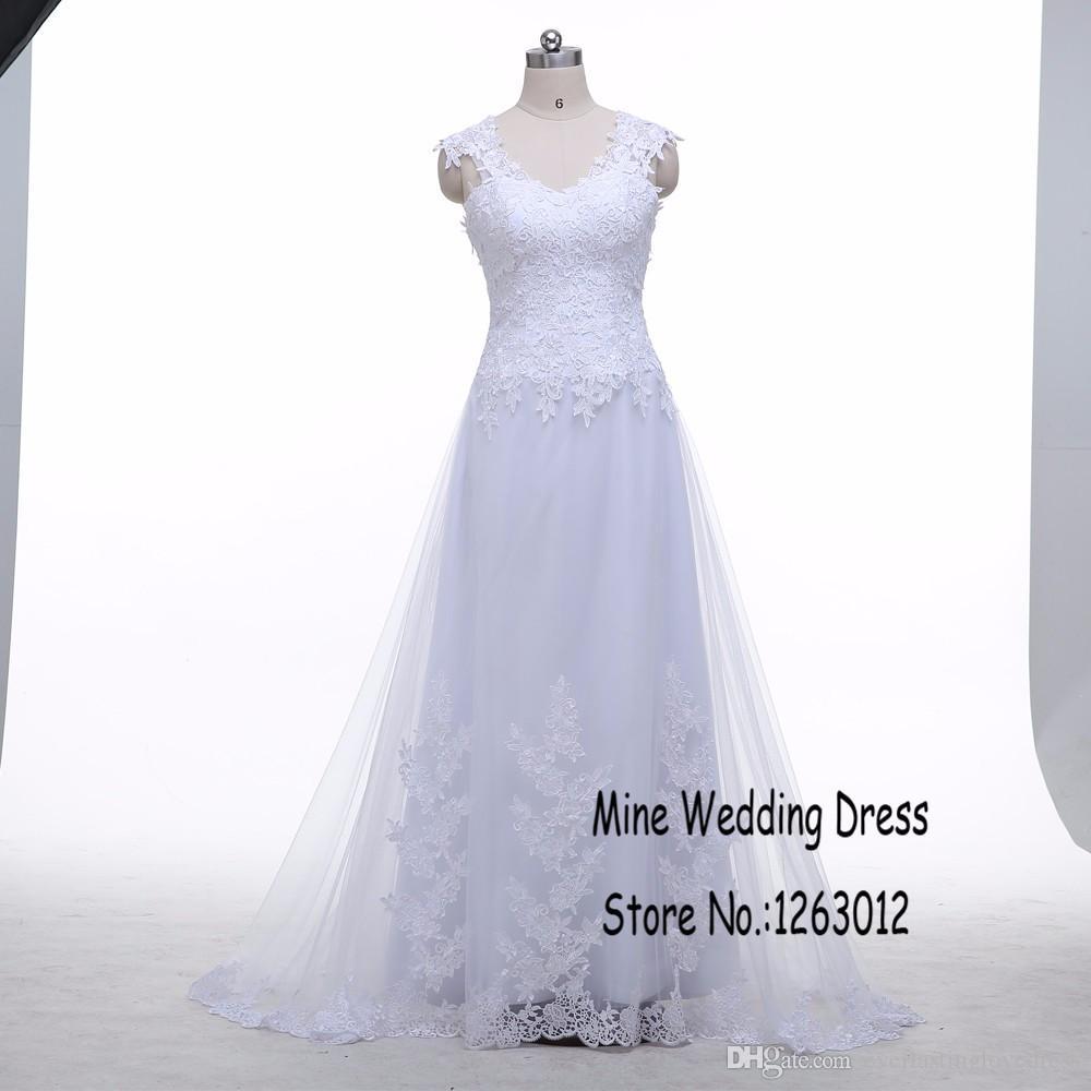 Bereit zum Versand von Kappenhülsen-Sweep-Zug-Tüll-Hochzeitskleid sehen, obwohl zurück Applique-Spitze-Brautkleider sexy vestido de noiva