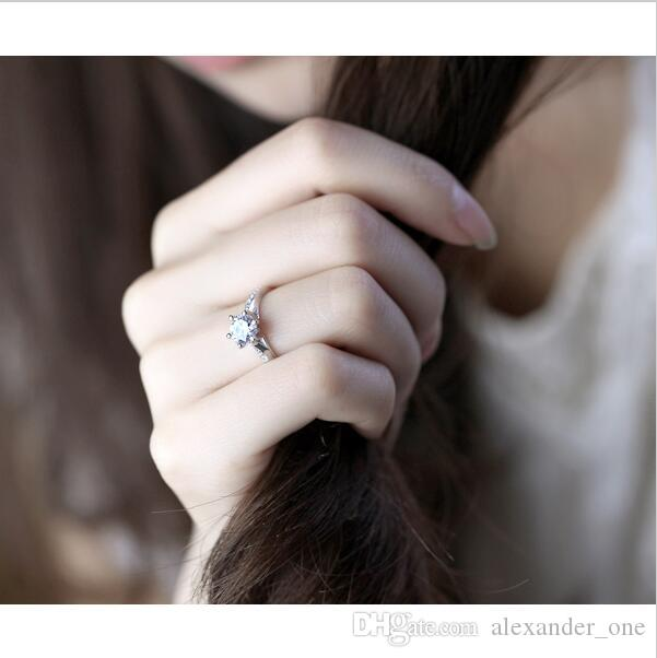New TOP Quality wholesale 100% Real Pure 925 Sterling Silver Six Claws Zircon Elegant Fashion Women Engagement Wedding Ring