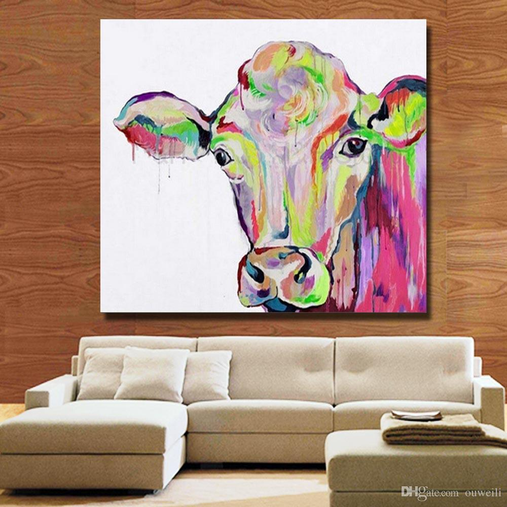Decorative animal picture abstract colored cow oil painting cheap price modern oil painting for living room wall