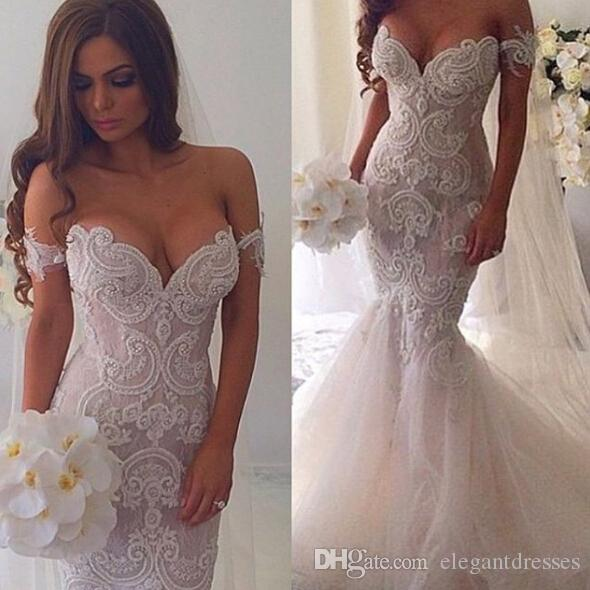 2016 mermaid off shoulder plus size beaded wedding dresses sexy 2016 mermaid off shoulder plus size beaded wedding dresses sexy tulle backless beaded bridal wedding gowns with veil bridal gowns online bridal party junglespirit Images