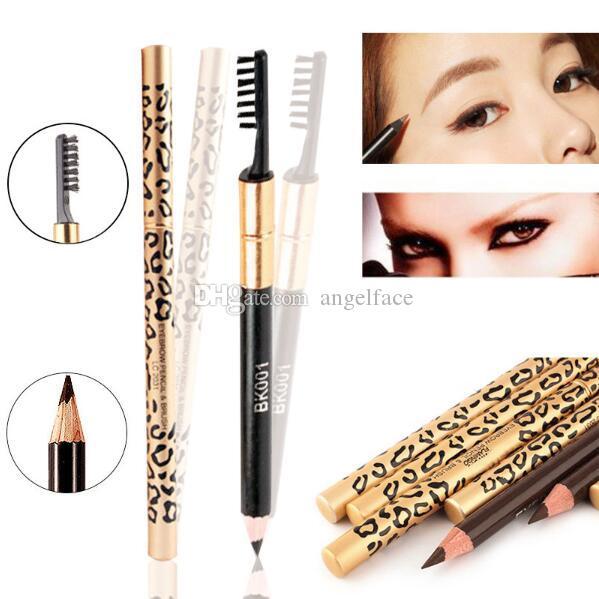 Las más nuevas mujeres de doble uso impermeable marrón negro leopardo maquillaje cosmético lápiz de ceja pluma con pincel maquillaje