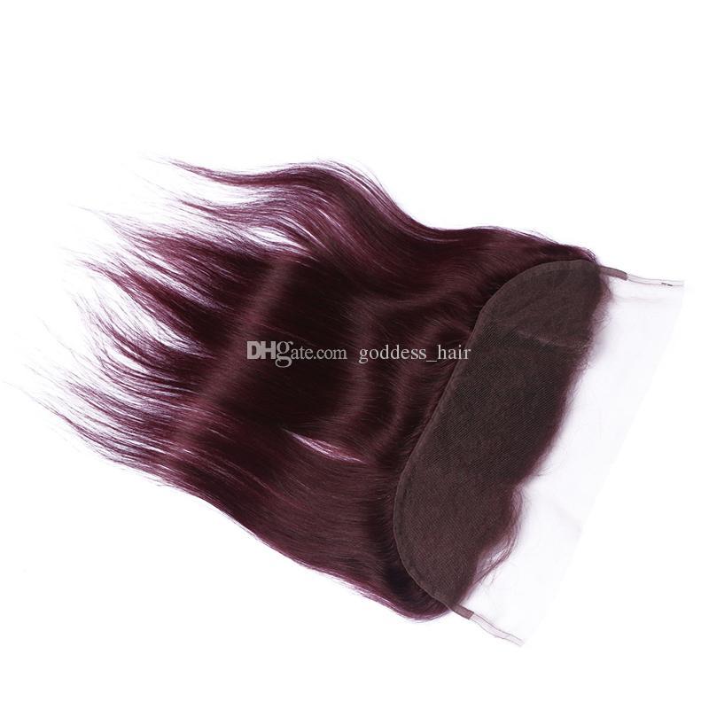 Paquetes de cabello humano brasileño 99J con 13 * 4 Frontal de encaje 4 piezas de lote Borgoña recto con frontales Cabello rojo vino con cierre frontal