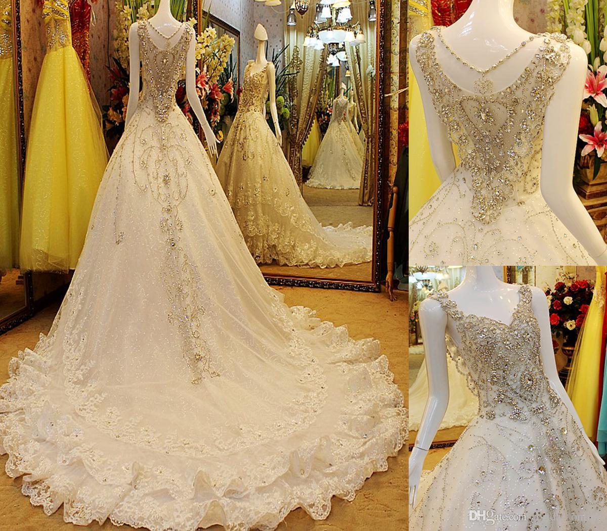 Discount 2016 Swarovski Crystals A Line Wedding Dresses Luxury V ...