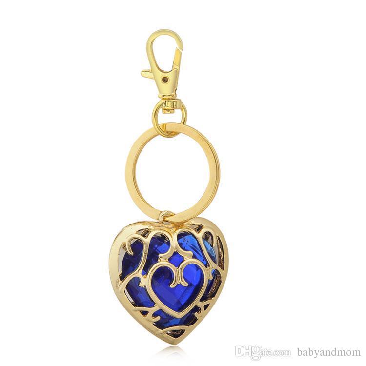 Zelda Anahtarlık ve Kolye Mavi Kırmızı Kalp Skyward Kılıç Kalp Konteyner Kolye Takı Anahtarlık