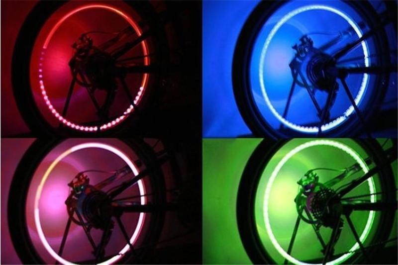 Смешайте цвет велосипед Велосипед автомобиль мотоциклы колесо шины клапан крышка спицы неоновая вспышка светодиодные фонари лампа 2 шт. / лот автоаксессуары