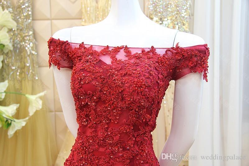 2018 Neueste Elegante Flügelärmeln Dark Red Mermaid Abendkleider Schöne Sweep Zug Lace up Zurück Tüll Spitze Formale Abschlussball Party Kleider