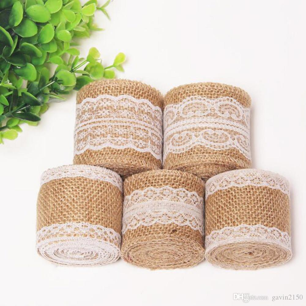 5 X 10M Natural Jute Burlap Hessian Lace Ribbon Roll With White Lace Trim Edge For Christmas Wedding Home Party Decoration