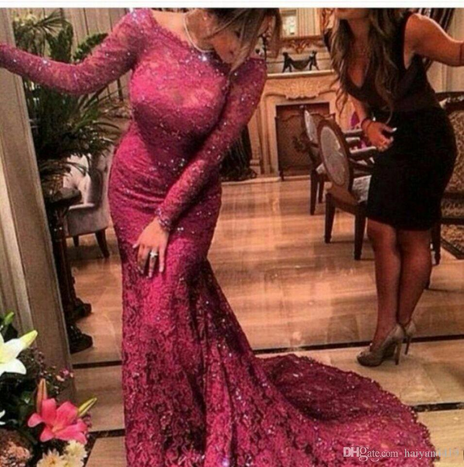 Mermaid Evening Dresses 2017 Arabia Burgundy Bateau Neck Long Sleeves Illusion Full Lace Appliques Beads Crystal Party Dress Prom Gowns