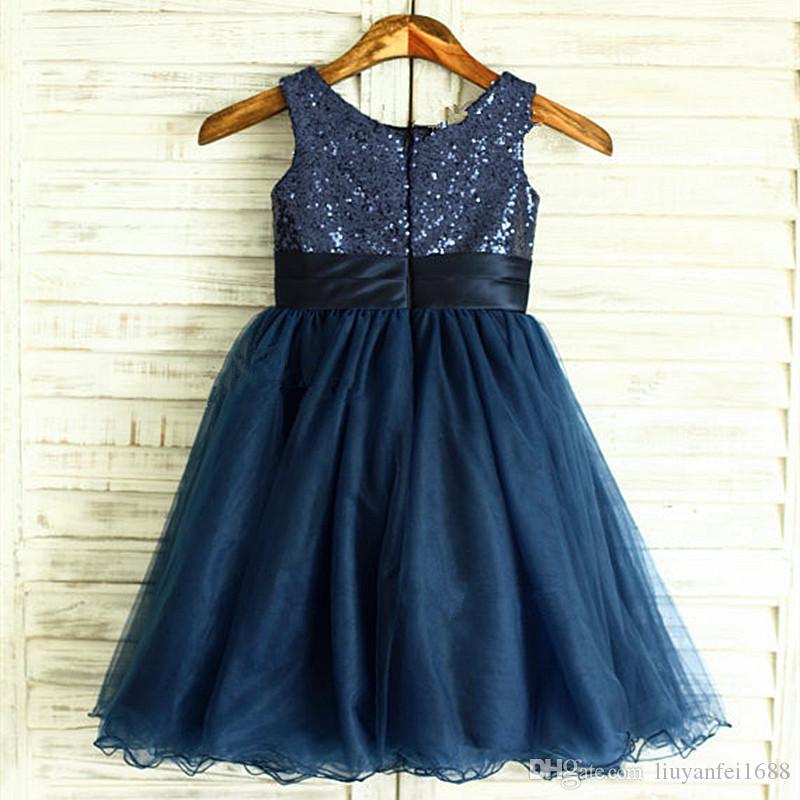 0c0f390cc046 Navy Blue Sequin Tulle Flower Girl Dress Curly Hem Wedding Easter ...