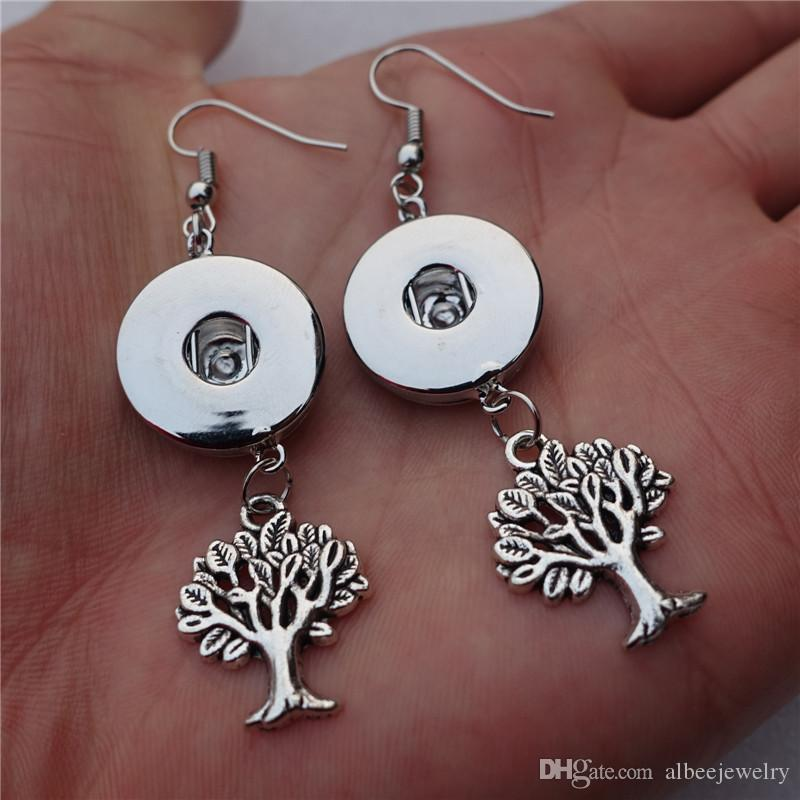 Fashion Small Tree Of Life Noosa Chunks Metal Ginger 18mm Snap Button Necklace Earrings Jewelry Set For Women Gift