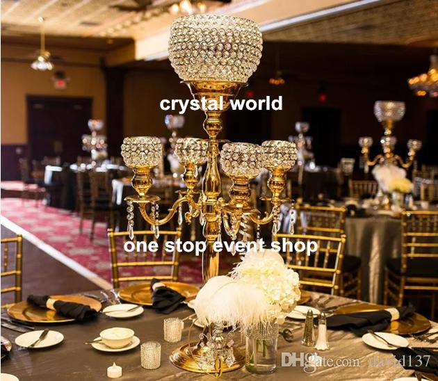 Disco Ball Table Decorations: Tall Crystal Candelabra Glass Ball Large Wedding