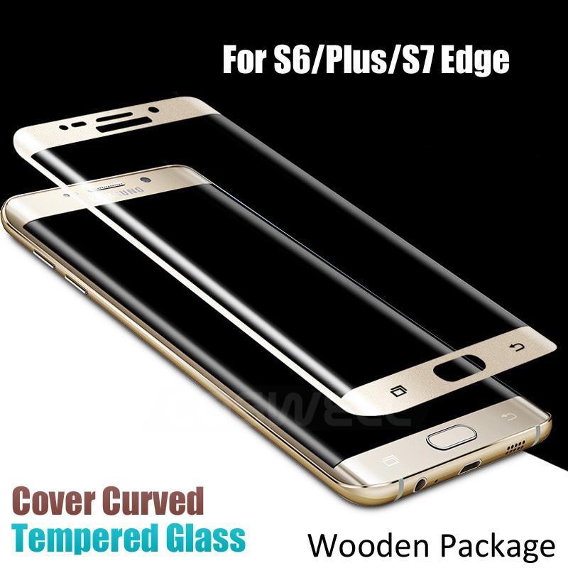 Samsung-Galaxie S6 Plus Rand-S7 Rand-Anmerkungs-Rand gehärtetes Glas-Schirm-Schutz 9H 3D Abdeckung gebogene seitliche volle Abdeckung 0.2mm hölzernes Paket DHL
