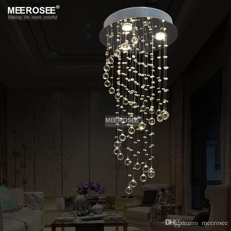 Spiral Design Crystal Ceiling Light Fixture Small Stair Fitting Re Lamp Dining D400mm H800mm Md6002