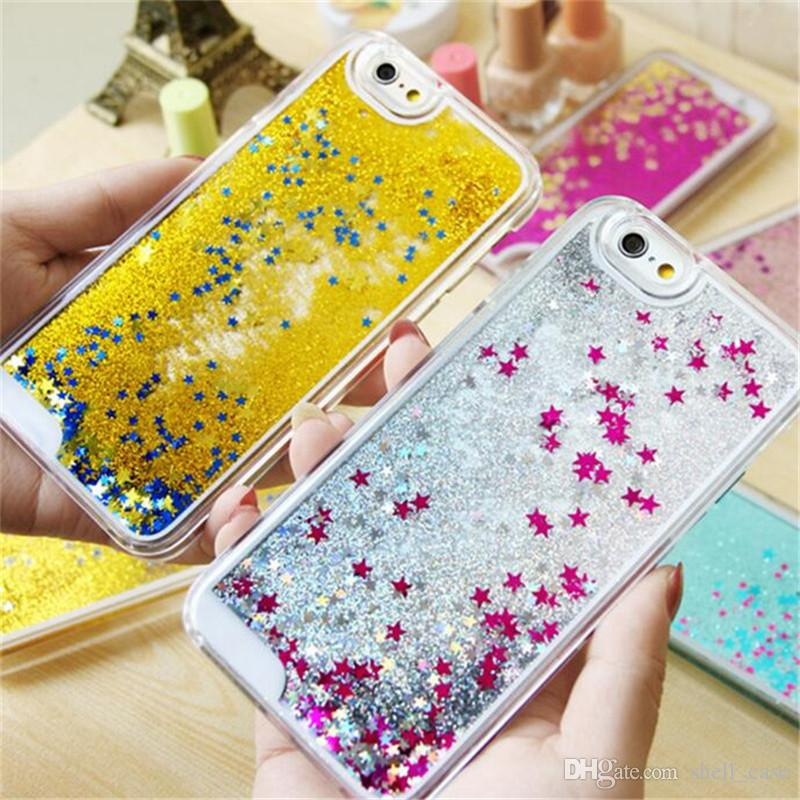 quality design 00bf6 41d13 Glitter stars Quick Sand Liquid PC Case for iphone 7 7 plus floating stars  hard cover cases for iphone 5 5c 6 7 plus samsung s6 s7 edge