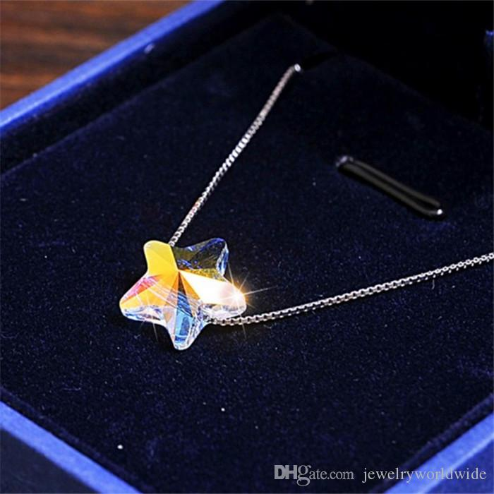 Pendant Necklace Cute Star AB Color Fashion Genuine Swarovski Element Crystal Solid 925 Sterling Silver Stunning Design 06