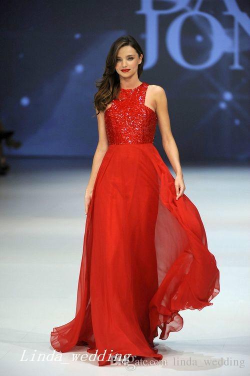 Moda Miranda Kerr Runway Red lantejoulas Chiffon vestido de noite longo Prom Dres celebridade vestido formal vestido de festa