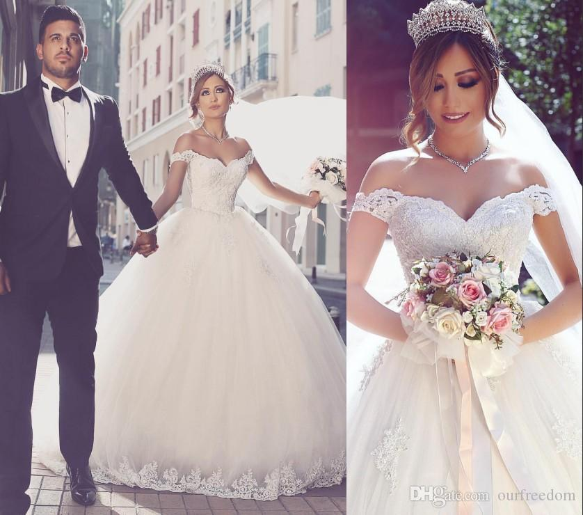 74461b24dd82 2016 Saudi Arabic Off The Shoulder Wedding Dresses Lace Appliques Ball Gown  Puffy Tulle Castle Bridal Gown Said Mhamade New Design Dresses Drop Waist  Ball ...