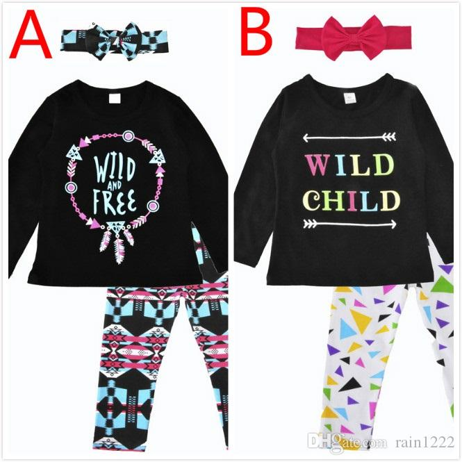 693566ca7786 2019 Girls Kids Tops Pants Outfits Pre School Letter Tees Trousers ...