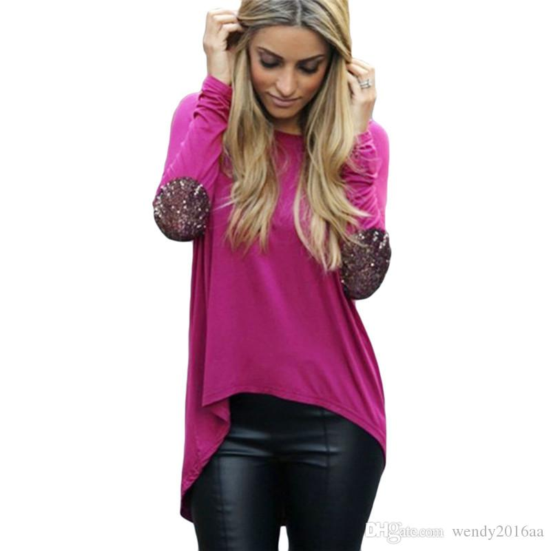ad2c6d765 2016 Autumn Fashion Women Ladies Casual Long Sleeve Patchwork Crewneck  Loose Sexy Lady T Shirt Tops