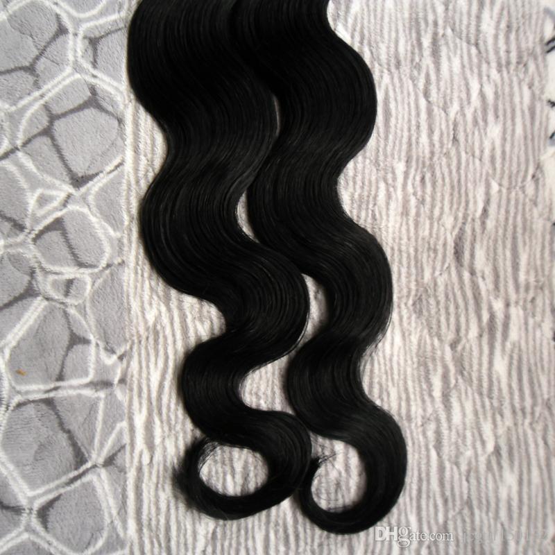 Color #1 Jet Black Brazilian Body Wave Hair Human Hair Tape Hair Extensions pu skin weft hair 100g tape hair extensions wavy